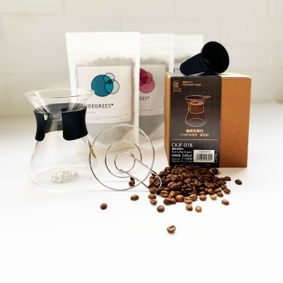 Pour-over coffee gifts set with filter coffee and Hario mini dripper set. Perfect coffee gift.